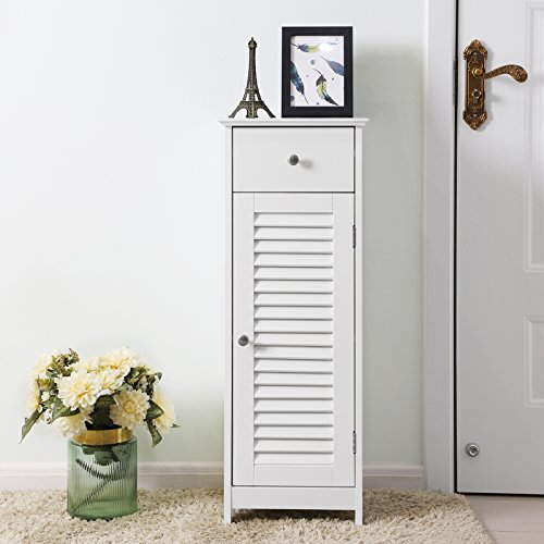 SONGMICS Bathroom Floor Cabinet Storage Organizer Set with Drawer and Single Shutter Door Wooden White UBBC43WT