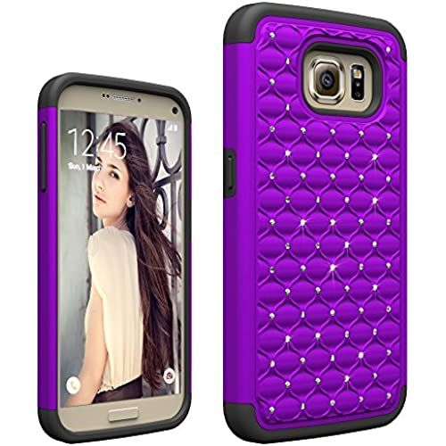 Galaxy S7 case, vogue shop [Shock-Absorption]Studded Rhinestone Bling Hybrid Dual Layer Defender Protective Case for Samsung Galaxy S7-Purple Sales