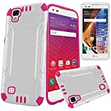 LG Tribute HD LS676 (Virgin, Boost Mobile) Heavy Duty Brushed Metal Finish Slim Fit TPU Dual Layer Hybrid Armor Shock Impact Protection Case + LCD Screen Protector [SlickGearsTM] (White Pink)