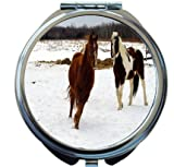 Rikki Knight Galloping Horses in Snow Design Round Compact Mirror