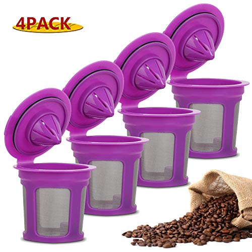 4 Pack Reusable K Cups For Keurig 2.0 & 1.0 Brewers Universal Fit Refillable Single Cup Coffee Filters Stainless Steel Mesh Filter (Purple) ()