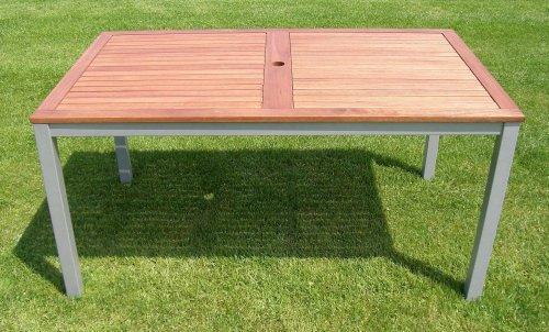 Amazon De Holz Metall Alu Tisch Lynx 150x90x74cm Eukalyptusholz