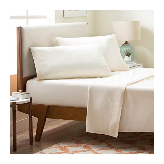 Linenspa Brushed Microfiber Ultra Soft Bed Sheet Set - Wrinkle Resistant - Twin Size - Ivory - Soft brushed finish for superior comfort Wrinkle, stain and shrink resistant Fitted sheet fits mattresses up to 14 inches deep - sheet-sets, bedroom-sheets-comforters, bedroom - 51VXzU6DvVL. SS570  -