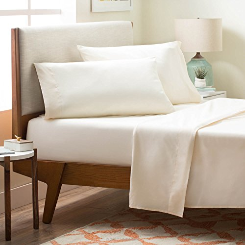 LINENSPA Brushed Microfiber Ultra Soft Bed Sheet Set - Wrinkle Resistant - Cal King Size - Ivory (Discount Bed Sheet Sets)