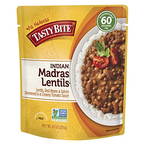 Tasty Bite Indian Entree Madras Lentils 10 Ounce (Pack of 6), Fully Cooked Indian Entrée with Lentils Red Beans & Spices in a Creamy Tomato Sauce, Microwaveable, Ready to -