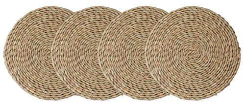 wellhouse Wooden Round Braided Mat Natural Handmade Straw Woven Placemat Insulation Resuable Non-Slip Pad (11.8Inch, Miao -