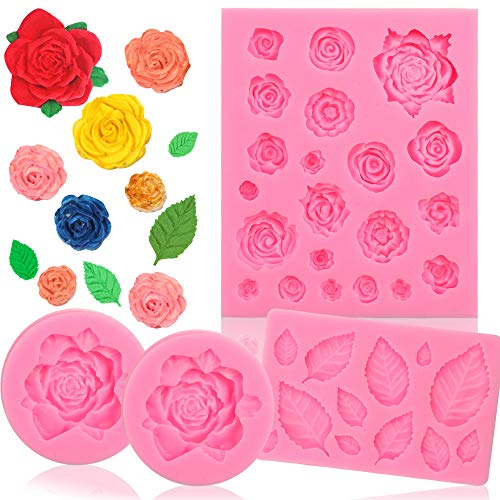 BAKHUK 4pcs Flower Fondant Candy Mold, Roses and Leaves Collection Silicone Fondant Mold for Chocolate, Sugercraft Cake Decoration Kit]()