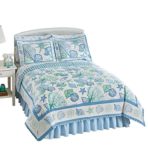 Collections Etc Beach Bliss Ocean Inspired Coastal Seashell Reversible Stripe Lightweight Quilt, Blue And White, Full/Queen (Seashell Stripes)