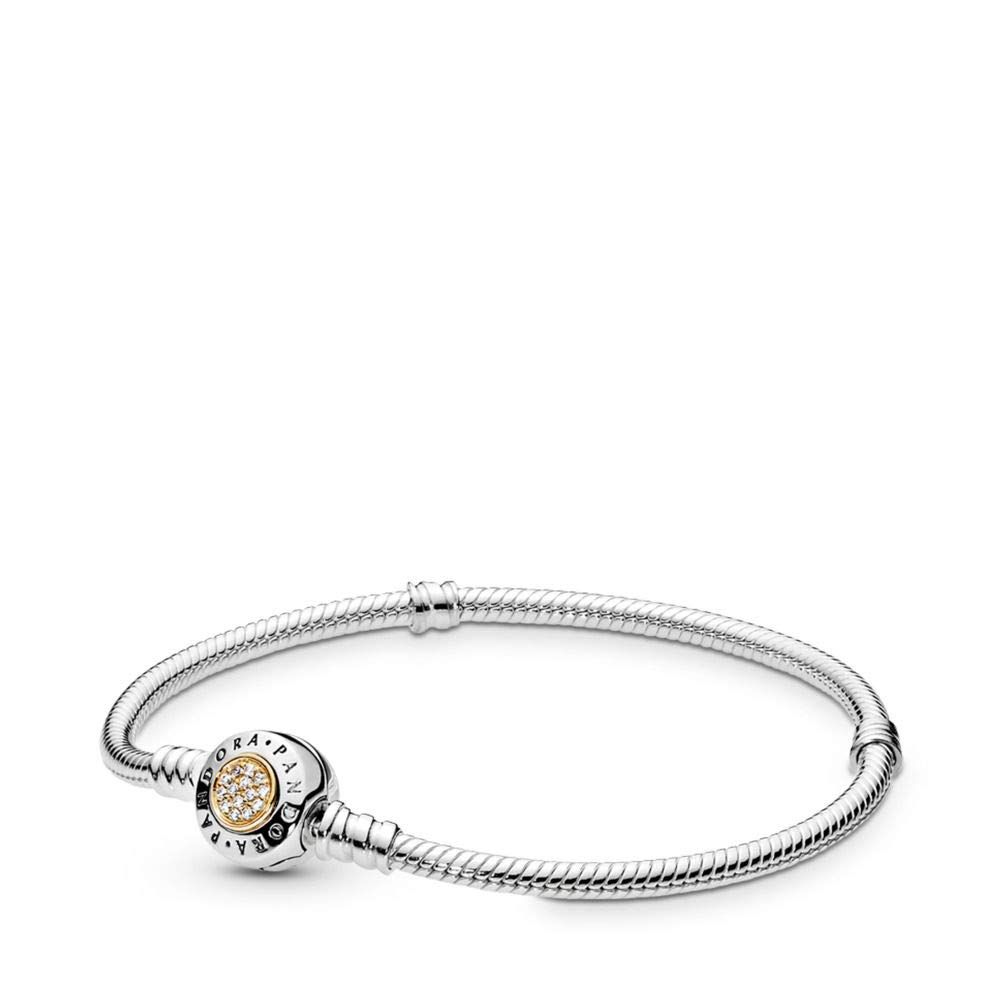 Pandora Signature Bracelet, Two Tone - Sterling Silver and 14K Yellow Gold, Clear Cubic Zirconia, 7.1 in