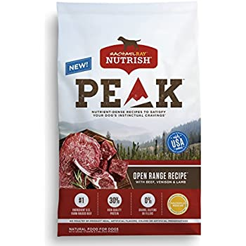 Rachael Ray Nutrish PEAK Natural Grain Free Dry Dog Food, Open Range Recipe with Beef, Venison & Lamb, 12 lbs