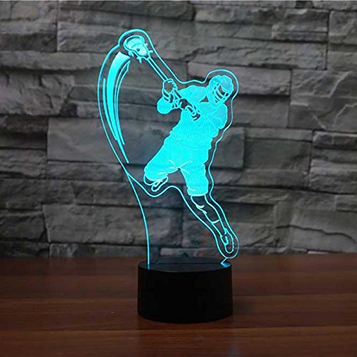 Lacrosse Desk - 3D Lacrosse Player Night Light Touch Table Desk Optical Illusion Lamps 7 Color Changing Lights Home Decoration Xmas Birthday Gift