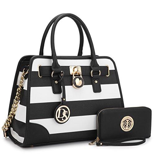 Stylish Designer Handbags - Medium Satchel 2 Pieces Purse Set Designer Handbag Top Handle Shoulder Bag Padlock Black/White