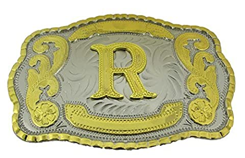 Initial Letters Western Style Cowboy Rodeo Gold Large Belt Buckles (Large Square, R LETTER) (Hebillas De Rodeo)