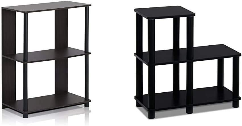 FURINNO Jaya Simple Design Bookcase, Walnut & Turn-N-Tube Accent Decorative Shelf, Espresso/Black