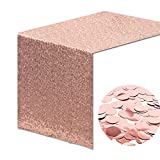 Whaline Sequin Table Runner Glitter Rose Gold 12 X 108 Inch with 30 g Foil Confetti Decoration for Party Wedding Birthday Baby Shower