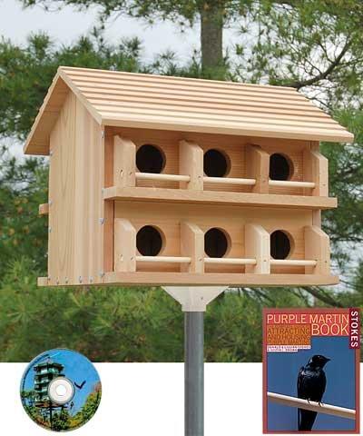 BestNest Heath Cedar Round Entry Purple Martin House Package