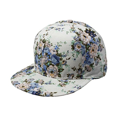 "Ussore 1PC Floral Hip-Hop Men""s Women""s Flat Adjustable Hat Casual Baseball Cap Hunting Fishing Army Hiking SunHat (Blue)"