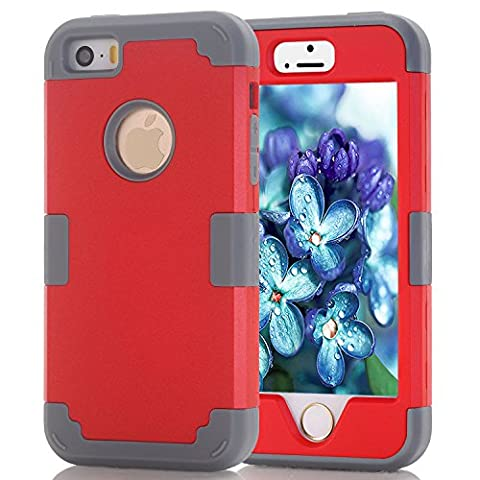 iPhone 5s case, iPhone 5 case, (TPU+ Silicone) Anti-slip Shockproof Dustproof slim and stylish protective case for iPhone5 iPhone5S (Red+dark (Dark Layers Volume 2 Volume 1)