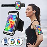 Micropromo® Premium Black Sports Running Jogging Exercise Gym Adjustable Armband Case with Key Holder and Ear Bud Hole for Athletic Men and Women for Samsung Galaxy S3 S4 S5 LG G3 G2 HTC M7