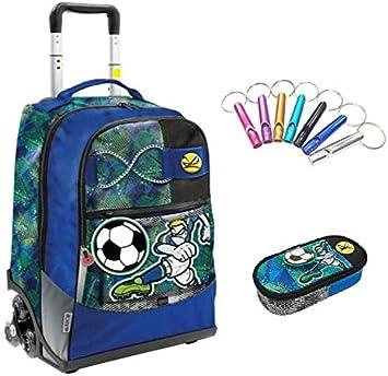 Trolley Mochila Escolar Go Pop Sport 5 gráficos Juegos Preciosos 3 Ruedas + Estuche Cremallera + Llavero Silbato: Amazon.es: Equipaje