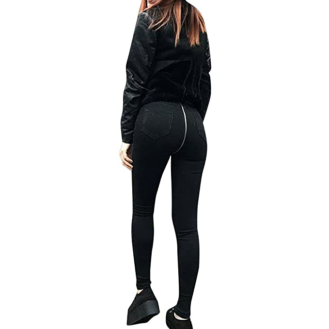scaling ❤Back Zipper Jeans Pants Women Back Zipper Pencil Stretch Denim Skinny Jeans Pants High Waist Trousers