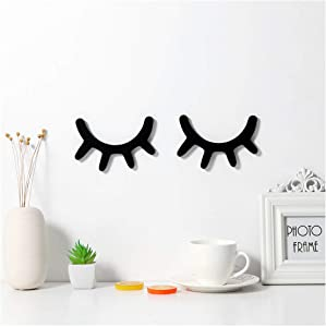Sleepy Eyes Wall Decor, Eyelash Wall Decoration Wooden Eyelash Wall Stickers Wooden Decal Props for Christmas Decor Nursery Baby Room Kids' Bedroom Wall Art (Black)