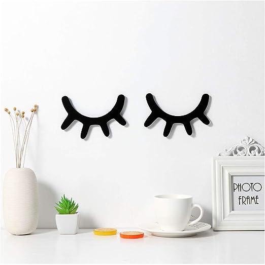 Cute 3D Wood Wall Sticker Pair Nordic Style Eyelash Decal Home Decor Room Art