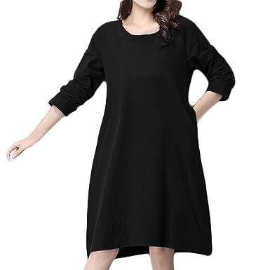 Vestido de algodón Suelto de Manga Larga de Color sólido Casual de ...