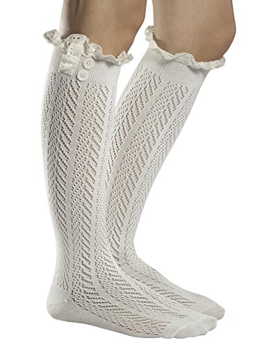 Fiorelle Norah Lacey Knee High Boot Socks, Crochet Lace & Buttons, Girls & Women (Ivory) (White Boot Tops)