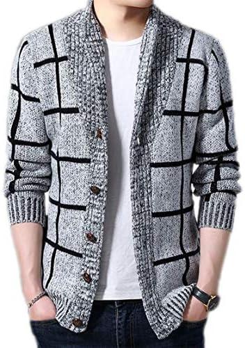メンズカジュアルカーディガン厚手の市松模様のニット学生オープンシーズンセーターショール襟ボタントップ暖かいコート (Color : Gray, Size : S)