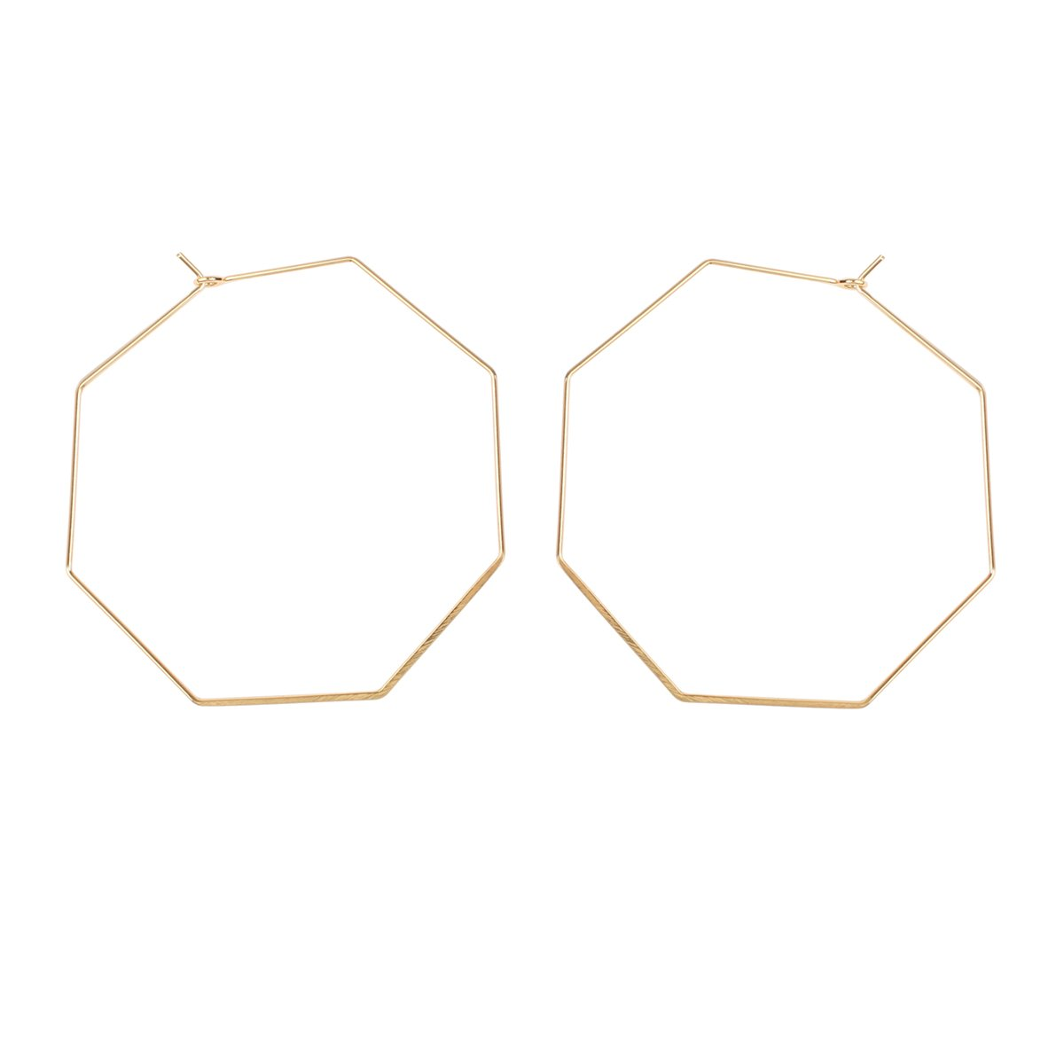 RIAH FASHION Lightweight Geometric Hoop Earrings - Classic Brass Wire Threader Dangles (Octagon Gold)