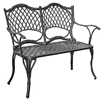 Amazoncom Cast Aluminum Garden Bench Finish Antique Black