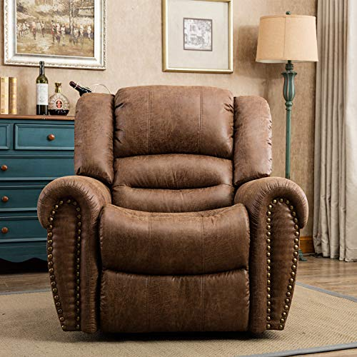 CANMOV Breathable Bonded Leather Recliner Chair, Classic and Traditional 1 Seat Sofa Manual Recliner Chair with Overstuffed Arms and Back, Nut Brown