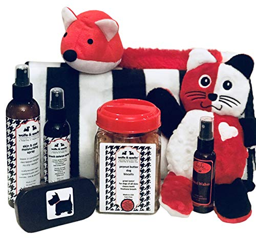 New Wolfe & Sparky's Deluxe Dog Gift Set Includes a Classy Dog Blanket, 2 Bottles of Wolfe & Sparky Natural Grooming Prodc Healthy Peanut Butter Dog Treats, 2 Toys, and -