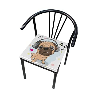 FICOO Home Patio Chair Cushion Animal Bulldog Music Square Cushion Non-Slip Memory Foam Outdoor Seat Cushion, 16x16 Inch: Home & Kitchen