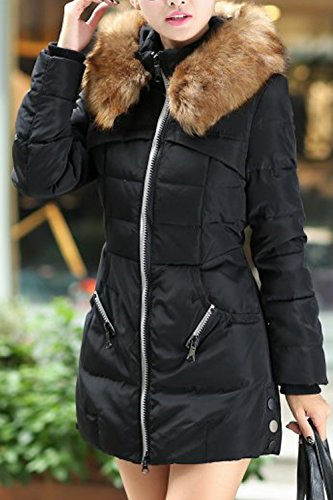 Mujer Warm Furry Hoodie La Quilted Long Collar Zip Casual Black Winter Parkas Outwear qFwSB