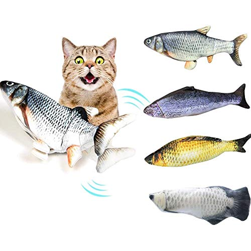 Realistic Plush Simulation Electric Doll Fish, Funny Interactive Pets Chew Bite Supplies for Cat/Kitty/Kitten Fish Flop Cat Toy Catnip Toys - Perfect for Biting, Chewing and Kicking (B) 2