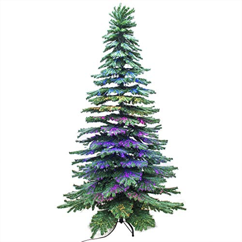 Signstek 7.5FT Fiber Optical Spruce Hinged Artificial Christmas Tree with 105 Colorful LED Lights and 1963 PVC Tips, 23 Flash Modes and Metal Stand