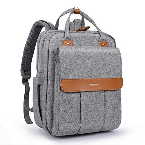 PomeloBaby Wickelrucksack mit anzierbare Wickelunterlage, Kinderwagenbefestigung und Laptopfach Unisex Wickeltasche für Papa und Mama Grau
