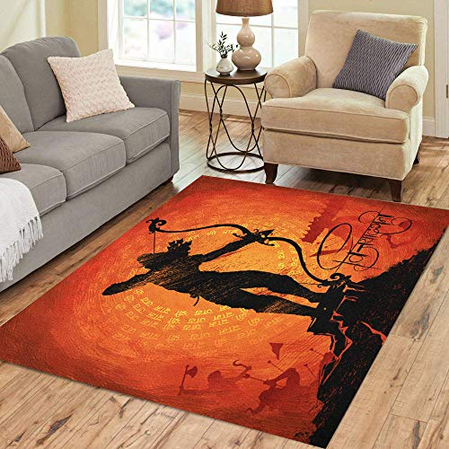 Semtomn Area Rug 5' X 7' Lord Arrow Killing in Festival India Hindi Text Home Decor Collection Floor Rugs Carpet for Living Room Bedroom Dining Room
