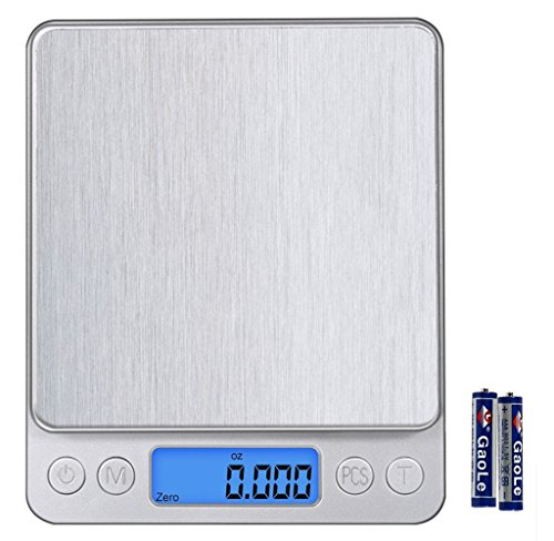 Digital Pocket Kitchen Scale,Showpin Stainless Steel with Backlit LCD Display, 0.001oz/0.01g 500g Piece Counting Function, Silver, Cleaning Cloth and battery Included