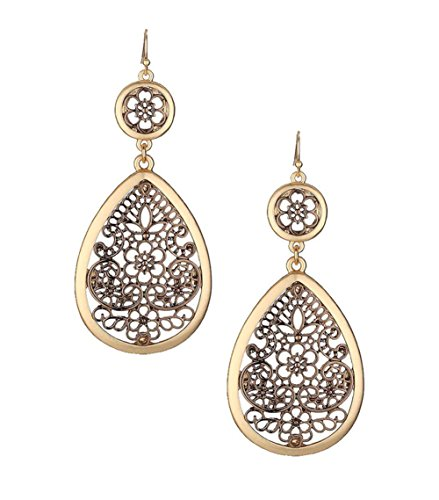 "Extra Large & Long Copper-Tone Filigree & Burnished Gold-Tone Open Work Dangle Teardrop Earrings 3 1/4"" -"