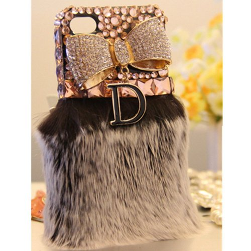 EVTECH(TM) Warm Plush Series Luxury Crystal Diamond Golden Bow D Pendent Bling Rhinestones Pearl Design Cover Case for Apple iPhone 4 4S 4G ,Verizon, AT&T, T-mobile, Sprint and other Carriers (100% Handcrafted)