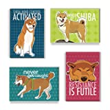 Shiba Inu Gifts Set II - Four Refrigerator Magnets with Funny Sayings, Shiba Inu Art, Cute Sayings Fridge Magnets Pack