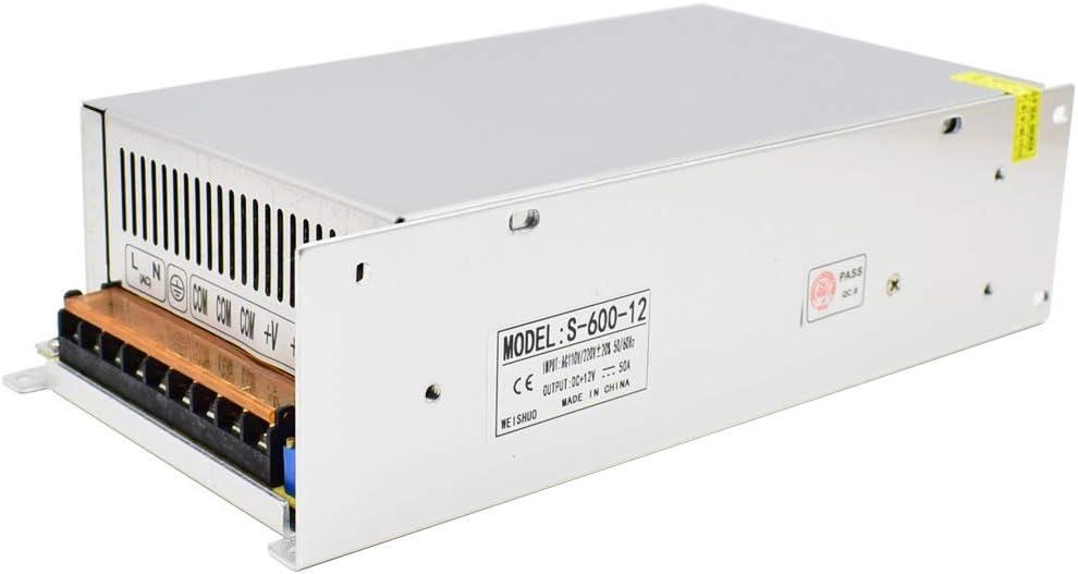 HAILI Fuente de Alimentación Conmutada DC 12V 50A 600W Transformador de Voltaje Universal Regulada AC 110V/220V para Tira de LED, Camara de Vigilancia