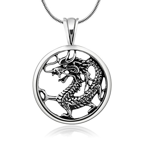 (Chuvora 925 Oxidized Sterling Silver Detailed Dragon Luck Wisdom and Longevity Pendant Necklace, 18 inches)