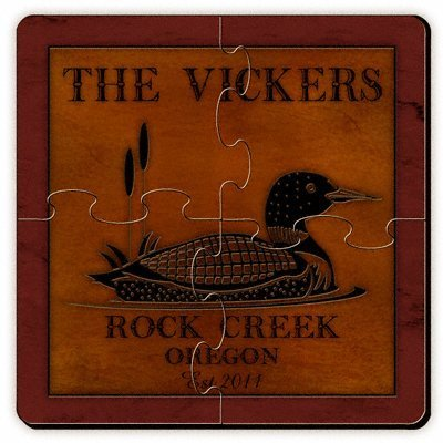 Personalized Cabin Series Coaster Puzzle Set - Loon Coaster Puzzle