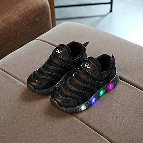 LED Schuhe Breathable Prewalker Für Baby Unisex Kinder Helle Schuhe Turnschuhe Schwarz
