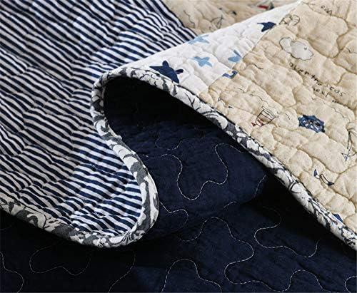 2020 3 Pcs Patchwork Quilt Jaune Vert Bleu Pentagramme Ensemble Rayures Bleues Rembourré Patchwork Quilt Jeter Ensemble de Couette 230 * 250 cm et Taie d'oreiller 50x70 cm