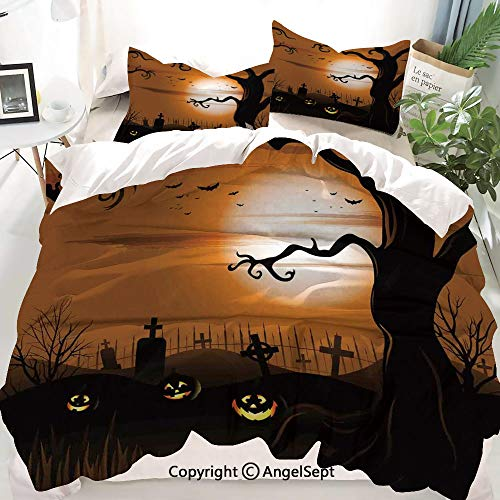 Homenon Halloween Decorations Decor Duvet Cover Set Twin Size,Leafless Creepy Tree with Twiggy Branches at Night in Cemetery Graphic,Decorative 3 Piece Bedding Set with 2 Pillow Shams